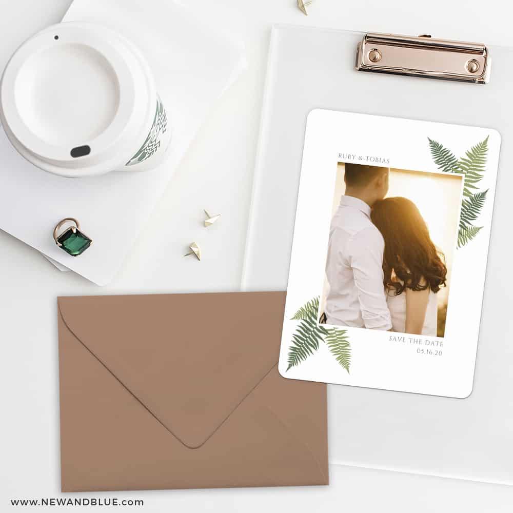 Framed In Ferns Save The Date Cards And Optional Color Envelopes