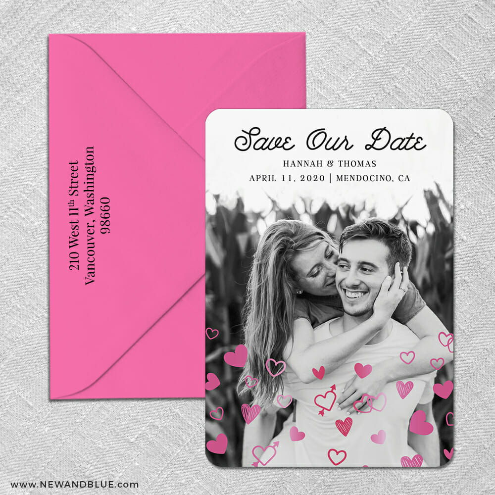 Head Over Heels 2 Foil Save The Date With Optional Color Envelope
